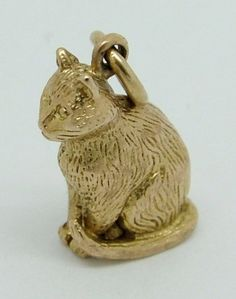 1960's Solid 9ct Gold Cat Charm - Gold Charm - Sandy's Vintage Charms - 1