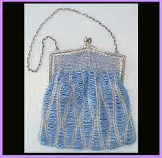 Victorian Beaded Purse Gorgeous Blue Glass Seed Beads - For Sale on Ruby Lane #RubyLane