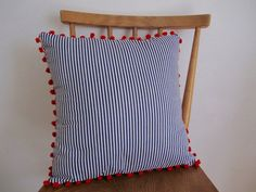 Pompom Nautical Cushion // Blue and White Stripe by StampAndStitch Nautical Cushions, Pom Pom Trim, Cushion Pads, Blue And White, Throw Pillows, Handmade, Stuff To Buy, Toss Pillows, Hand Made