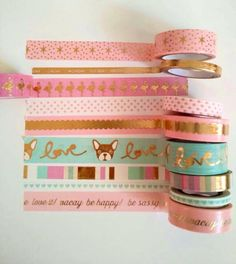 """Washi Tape-24"""" Sample/ gold foil Pink Mint washi tape/pastels washi planner tape/gold pineapple/ Michaels recollections/flamingo"""