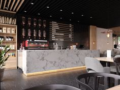 Coffee shop in Almaty, Kazakhstan. on Behance Coffee Bar Design, Coffee Shop Interior Design, Restaurant Interior Design, Shop Counter Design, Cafe Shop Design, Coffee Shop Counter, Coffee Shop Bar, Coffee Shop Furniture, Café Bar