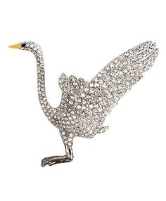 Beautiful Crane Crystal Brooch by Brooks Brothers