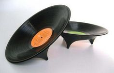 Vinyl Fruit Bowls: These are hand-made; each one uses a different record; thus each is unique.