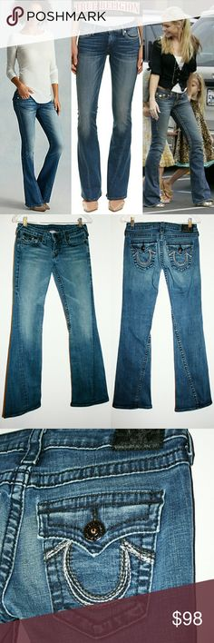 """✨PRICE DROP✨ True Religion RARE Joey Flare Jean These True Religion Joey style jeans are special and hard to find! They have a unique twisted inseam and awesome flare cut. The denim is slightly distressed in a dark medium indigo wash. Rare Joeys because they feature BLACK buttons & stitching throughout, and the back pockets have silver, bronze and black stitching. Standard 5 pocket jean w/ back flap & button closures. The stretch denim is 99% cotton 1% elastane. Excellent used condition! 32""""…"""