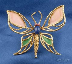 18kt Gold and Enamel Butterfly Brooch, France