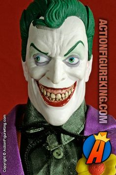 This 1/6th Scale Deluxe Collector Joker Figure is really sort of demented looking, yet extremely comic book accurate. Is it me, or does he remind anyone else of Tim Curry a little bit?