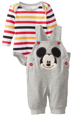 Disney Baby Baby-Boys 2 Piece Knit Overall Set, Light Grey Heather, 0/3 Months $29.99