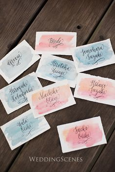 place name cards - watercolor Wedding Favors For Guests, Wedding Themes, Wedding Cards, Wedding Decorations, Pastel Wedding Invitations, Wedding Stationery, Baby Poster, Save The Date Karten, Wedding Table