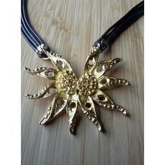 Sun Pendant Necklace Multi strands Brown leather Gold plated pendant... ($23) ❤ liked on Polyvore featuring jewelry, leather pendant, leather jewelry, golden jewelry, gold plated pendant and pendant jewelry