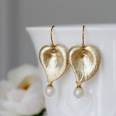 Gold Leaf and Ivory Pearl Dangle Earrings by YuniDesigns on Etsy