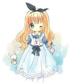 Little Chibi Alice Alice Anime, Lolis Anime, Cute Anime Chibi, Kawaii Chibi, Anime Girl Cute, Kawaii Anime Girl, Kawaii Drawings, Cute Drawings, Wie Zeichnet Man Manga