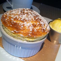 Passion Fruit Soufflé with a little Ginger Ice Cream on the side, a great combination! By Jean-Georges Vongerichten at Market in Boston, MA. #indulge #creations www.bon-app.com