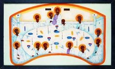Last Supper Contemporary icon by Jerzy Nowosielski Last Supper, Eucharist, Orthodox Icons, Sacred Art, Christian Art, Holi, Modern, Artwork, Cards