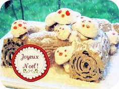 Beautiful Yule log cake with mushies!!!