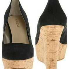 "Matisse Wedge Matisse round toe black faux suede wedge with cork platform and 4"" wedge heel. Matisse Shoes Wedges"