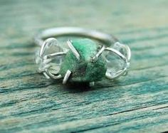 raw emerald engagement ring - Google Search