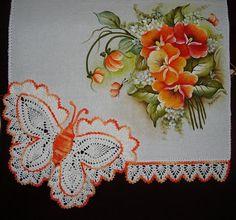Artes em Crochê e Pintura: amor perfeito