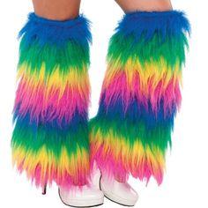 NEON FLUFFY LEG WARMERS 80/'s FANCY DRESS TUTU PARTY FLUFFIES