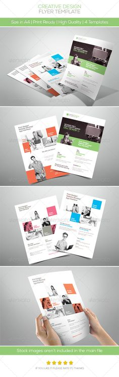 Creative Design Company Flyer  #GraphicRiver        Features: • 4 different styles included • 5 different colors included • Fully Editable Files (w Guidelines) • Well Organized Layers • A4 size(3mm Bleeds) • 300DPI   CMYK Colors   Print ready • Help file included Fonts: • Lato  .fontsquirrel