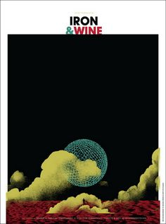 Iron & Wine concert poster. Hand made 4 color screen print. Artist:  Invisible Creature