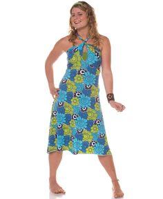 Retro Flowers Organic Halter Dress: Soul Flower Clothing