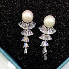 d9b1f1788 Fashion Hypoallergenic Women simulated pearl Earrings Silver Plated Long  Drop Earrings With AAA+Cubic Zircon Jewelry GIft LW9186-in Drop Earrings  from ...