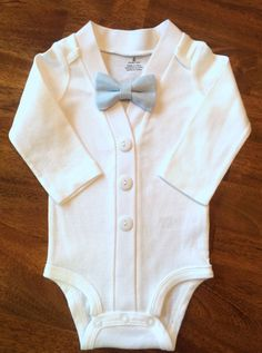 Baby Boy Baptism Outfit with Bow Tie, Boys' Christening Outfit, White Blessing Outfit, White Baby Cardigan Bow Tie Set