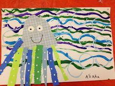 Kindergarten-pattern, cool colors, collage