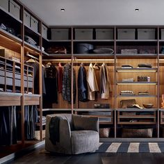 Contemporary walk-in wardrobe / melamine SENZAFINE Poliform