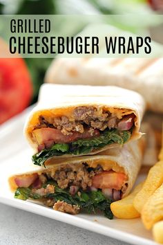 These Ground Beef Cheeseburger Wraps have all the flavor of a cheeseburger wrapped into a tortilla. Add your favorite toppings and grill or bake to get a crispy outside with a warm and gooey cheeseburger filling. Cheeseburger Wraps, Cheeseburger Eggrolls, Cheeseburger Chowder, Wrap Recipes, Dinner Recipes, Dinner Ideas, Meal Ideas, Easy Recipes, Hamburger Toppings