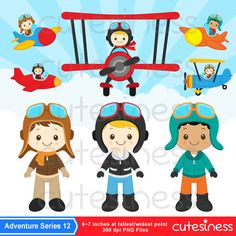 Pilot Clipart Little pilot Clipart Airplane Clipart by Cutesiness