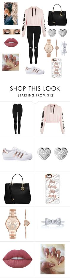 """Casual #23"" by qigfy ❤ liked on Polyvore featuring Topshop, adidas, Links of London, MICHAEL Michael Kors, Casetify, Michael Kors and Lime Crime"