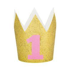 1 jaar gouden kroontje met glitters speciaal voor de eerste verjaardag. Op de kroon is een roze 1 bedrukt. Glitter First Birthday, First Birthday Crown, 1st Birthday Girls, First Birthday Parties, Birthday Crowns, Special Birthday, Thema Deco, Gold Number Balloons, 1st Birthday Party Supplies