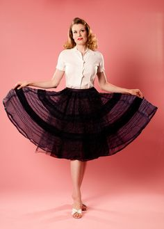 Vintage 1940s Navy Circle Skirt Blue New Look 1950s by alexsandras, $69.00