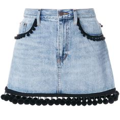 Marc Jacobs pom pom trim denim skirt ($620) ❤ liked on Polyvore featuring skirts, blue, patterned skirts, marc jacobs skirt, short blue skirt, zip skirt and button-front denim skirts