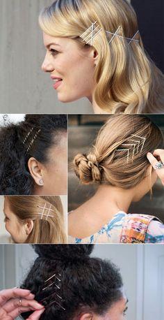 penteados com grampos aparentes
