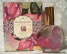 Aloha Beauty Hawaiian Island Bougainvillea Eau De Parfum Spray 1.7 oz. 1.7 fl oz (50 ml) eau de parfum spray. In decorative glass bottle with realistic fine silk purple bougainvillea petals inside. Made in Hawaii and are created from actual flowers & other ingredients derived from nature. Island Bougainvillea decorates the Islands in a riot of color. The exclusive Aloha Beauty company is known for its quality products and are sold in upscale hotels and boutiques in the islands.