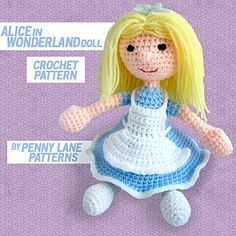 Amigurumi Alice in Wonderland Doll pattern by Penny Lane Patterns. Available on Ravelry and Craftsy.