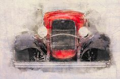 1932 Ford Roadster Red And Black - digital painting by Eduardo Tavares…