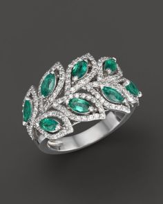 Emerald and Diamond Leaf Statement Ring in 14K White Gold | Bloomingdales's