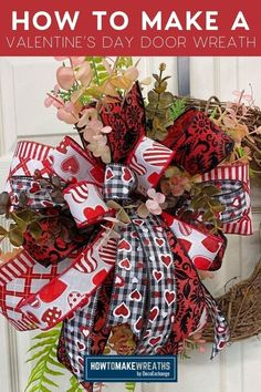 Transform a grapevine wreath and a piece of spruce into a gorgeous DIY Valentine wreath! Watch the video and make one of your own. Diy Valentines Day Wreath, Valentine Decorations, Love Valentines, Christmas Greenery, Christmas Wreaths, How To Make Wreaths, How To Make Bows, Door Wreaths, Grapevine Wreath