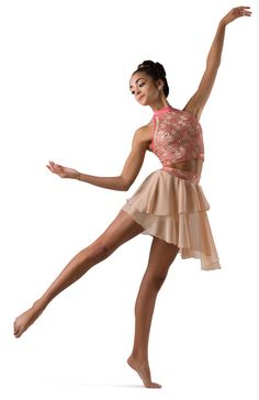 Coral sequin lace over beige spandex crop top with elastic midriff and mesh detail. Separate beige asymmetrical chiffon skirt with attached spandex brief. Ballet Tutu, Ballet Skirt, Dance Costumes Lyrical, Chiffon Skirt, Anime Outfits, Leotards, Headpiece, Sequins, Crop Tops