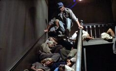 It's so crowded people sleep in the hallways of buildings. Dystopian Films, Dystopian Future, Cult Movies, Sci Fi Movies, Science Fiction, Soylent Green, The Truman Show, Young Frankenstein, People Sleeping
