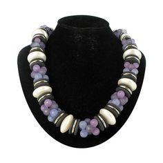 Chunky Huge Navy Purple Faux Pearl Beaded Necklace by KensieKitsch