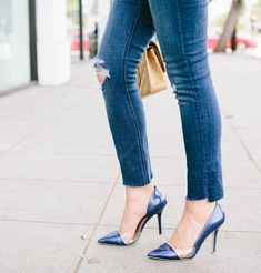Blue pointy heels  Fourteen Bomber Jacket To Keep You Looking Cool This Fall – Sydne Style