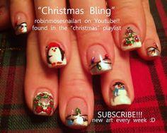 Nail-art by Robin Moses: christmas nail art, christmas nails, cute christmas nails, diva christmas nails, short christmas nails, holly nail ...