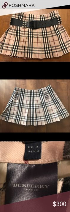 """BURBERRY LONDON PLEATED SKIRT Burberry London Belted Nova Check Wool Pleated Miniskirt.  side zip closure - belt loops - 2"""" wide black leather belt - pleated  - lined - 100% wool - Made in Scotland - length 13.75"""" Burberry Skirts Mini"""