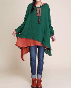 Chemise à capuche coton lâche raccord / Dark green