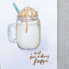 Caramel frappe mood.   #coffee #caffe #frappe #barista #coffeepun #coffeelover #coffeequotes #quotesoftheday #lettering #letterart #handlettering #brushlettering #brushtype #calligraphy #moderncalligraphy #handwritten #handtype #watercolorlettering #watercolor #diy #handmade #print #letteringco Barista, Caramel Frappe, Coffee Machine, Calligraphy, Watercolor, Mood, Thoughts, Handmade, Stuff To Buy