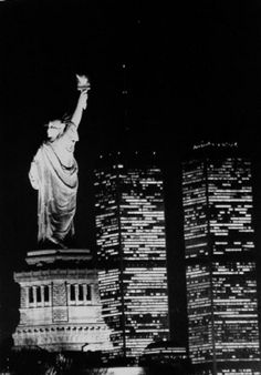 Statue of Liberty shines through the night, Jan. 1, 1989.